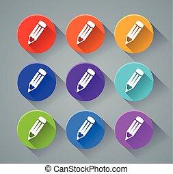 matita, colori, vario, icone