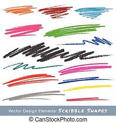matita, colorito, mano, smears, disegnato, scarabocchio