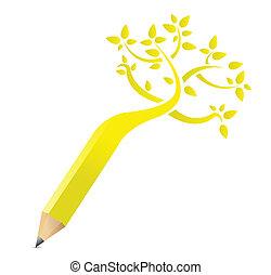 matita, concetto, albero, illustrazione