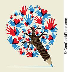 matita, concetto, amore, albero, mani