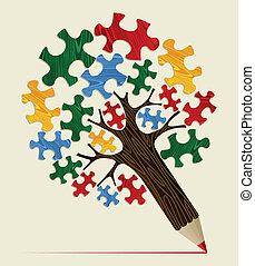 matita, concetto, jigsaw, albero, strategico