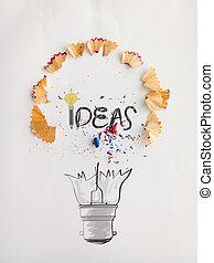 matita, concetto, parola, luce, idea, mano, carta, disegno, fondo, disegnato, polvere, bulbo, creativo, sega