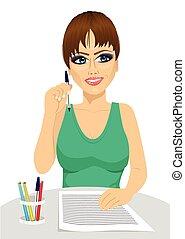 matita, concetto, pensare, attraente, presa a terra, segretario