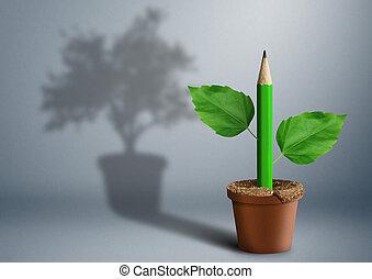 matita, concetto, vaso, idea, creativo, verde, crescente, nuovo