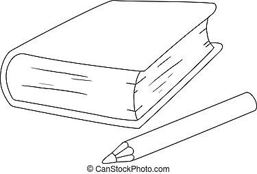 matita, delineato, libro