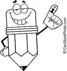 matita, delineato, schiuma, dito