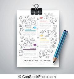 matita, educazione, affari, infographics