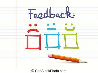 matita, feedback, carta quaderno, disegno, fondo