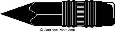 matita, fondo., vettore, nero, bianco, icona