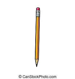 matita, fornitura ufficio, semplice, giallo, mano, grafite, disegnato, gomma