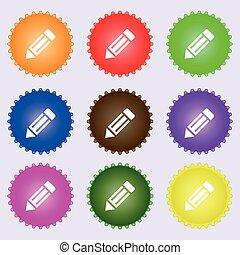 matita, icona, segno., uno, set, di, nove, differente, colorato, labels., vettore