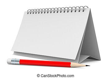 matita, immagine, isolato, fondo., quaderno, bianco, 3d