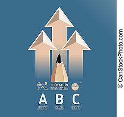 matita, infographic, disegno, educazione, stile, disposizione, vendemmia, /, sagoma, infographics, disinserimento, sito web, essere, usato, orizzontale, numerato, grafico, linee, vettore, lattina, bandiere, o