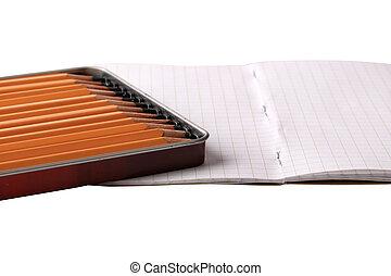 matita, isolato, quaderno, sfondo nero, bianco