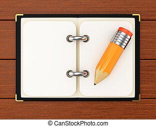 matita legno, blocco note, fondo