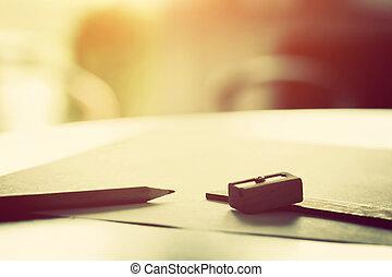 matita, light., carta mattina, vuoto, dire bugie