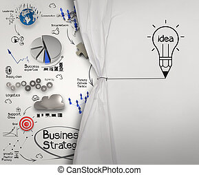 matita, lightbulb, disegnare, corda, aperto, spiegazzato, carta, mondo dello spettacolo, strategia, come, concetto