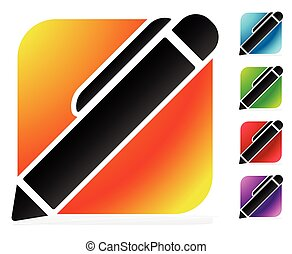 matita, luminoso, /, colori, 5, penna, icona