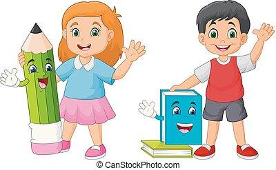 matita, mascotti, bambini, libro, cartone animato