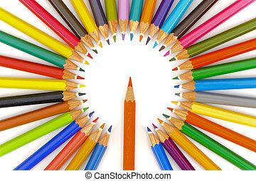matita, pastelli, cerchio, centro, rosso