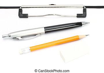 matita, penna, aereo, fondo, tavola, bianco