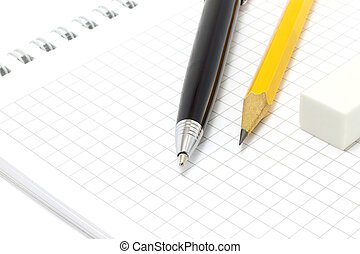 matita, penna, blocco note