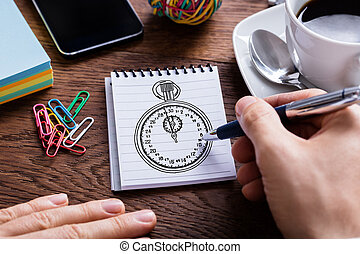 matita, persona, blocco note, tenendo mano