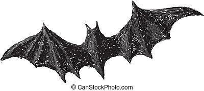 matita, pipistrello, pauroso, drawing., collection., halloween, isolato, mano, fondo., disegnato, bianco, aperto, ali