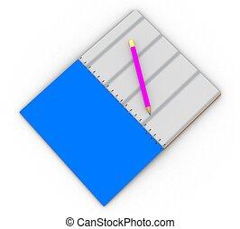 matita, quaderno, 3d