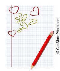 matita, quaderno, foglio