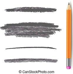matita, set, grigio, colpi, isolato, linee, vettore, grafite, spazzola, monocromatico, pencil.