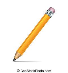 matita, sfondo bianco, isolato, giallo