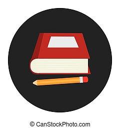 matita, silhouette, colorito, cornice, libro, circolare