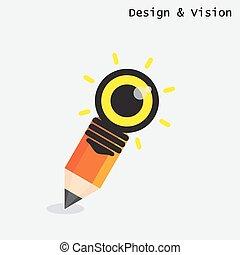 matita, stile, appartamento, luce, concept., moderno, creativo, disegno, bulbo, visione