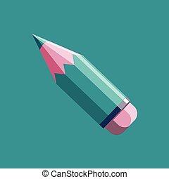 matita, stile, appartamento, moderno, vettore, icona
