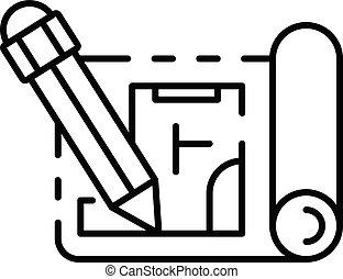matita, stile, contorno, scrittura, carta, piano, icona