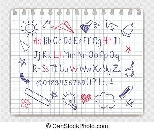 matita, stile, punteggiatura, elements., copybook, alfabeto...