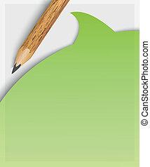 matita, su, ripieno, carta, bianco, questionario
