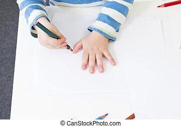 matita, suo, contorno, mano, bambino primi passi, tracce