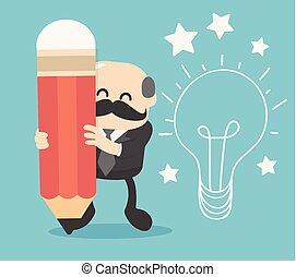 matita, testa, idea affari, creativo, crea, lavori in corso