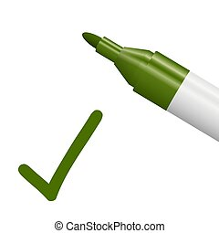 matita, verde, segno spunta
