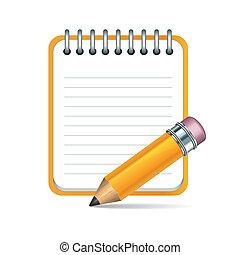 matita, vettore, blocco note, icona