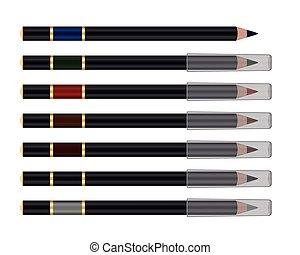 matita, vettore, set, cosmetico