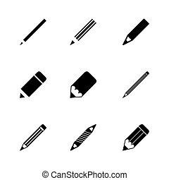 matita, vettore, set, icona