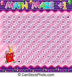 matita, worksheet, libro, addizione, carattere, cartone animato, matematica, labirinto