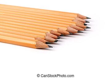 matite, ardesia, isolato, sfondo nero, bianco