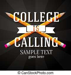 matite, attraversato, tuo, text., posto, chiamata, augurio, due, vettore, università