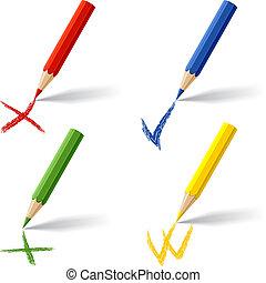 matite, bianco, colorato, collezione, fondo.