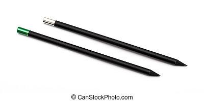 matite, bianco, nero, isolato, fondo