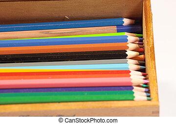 matite colorate, disegnare, coloritura, a, scuola, a, ufficio